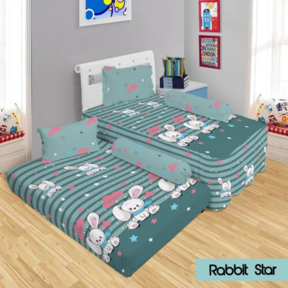 Lady Rose - Sprei 2in1 Lady Rose Sorong Motif Rabbit Star