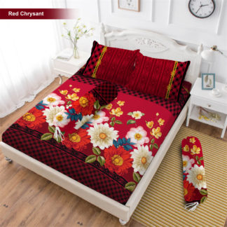 Sprei 3D King NEW VITO motif Red Chrysant