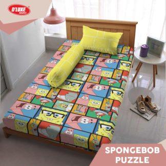 Sprei Single Kintakun 3D Santika Deluxe / D'luxe Spongebob Puzzle