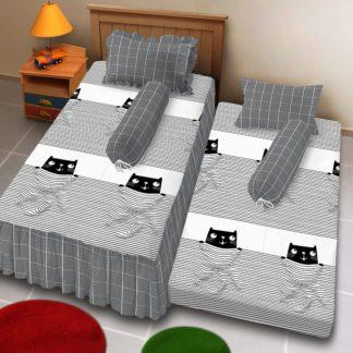 Sprei Single 2in1 Kintakun Deluxe Sorong Motif Catline