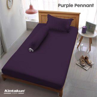 Sprei Single Kintakun Luxury Super Soft Microfiber (5in1) tinggi 30 cm - Purple Pennant