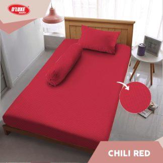 Sprei Kintakun Single 120x200 Tinggi 30 Embosed Edisi Spesial 3D D'luxe - Chilli Red