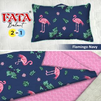 Balmut / Bantal selimut FATA Motif Flamingo Navy