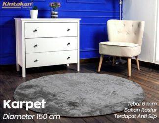 Kintakun Karpet Bulu Bulat Diameter 150 cm Grey