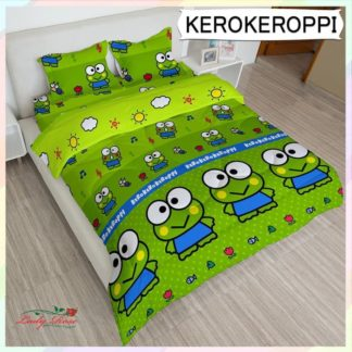 Bed Cover King Set Lady Rose Motif Keroppi