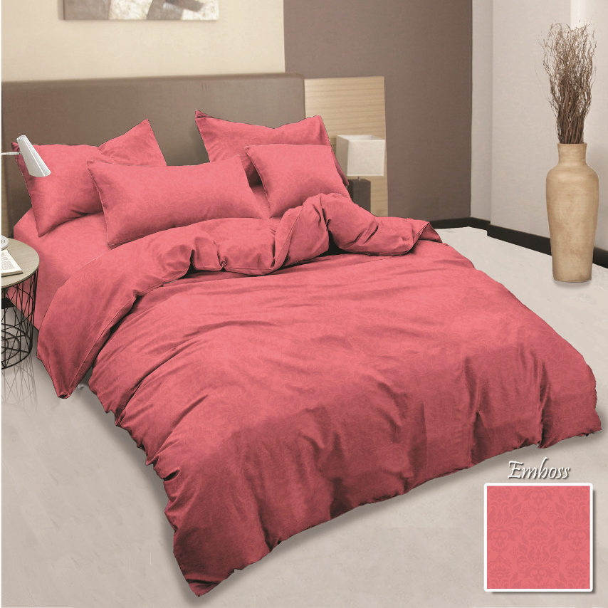 Sprei Aloha Polos Queen 160x200 Jacquard Embossed - PINK
