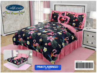 Sprei California King Motif Pink Flamingo (HITAM)
