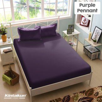 Sprei King Kintakun Luxury Super Soft Microfiber (5in1) tinggi 30 cm - Purple Pennant