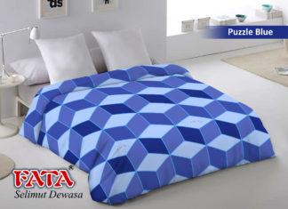 Selimut Fata Jumbo 200x200 Terlaris - Puzzle Blue