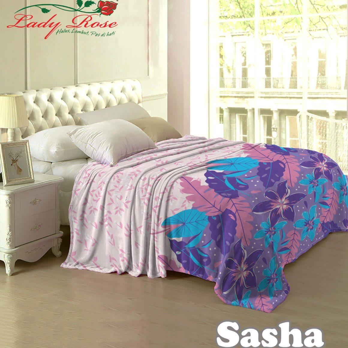 Selimut Lady Rose Terlaris bulu halus uk 160x200 motif Sasha